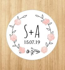 Custom Wedding Save The Date Stickers Labels Wreath Pink Rose Round Stickers