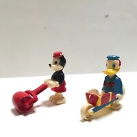 Lot of 2 Vintage Ramp Walker Toys Donald Duck and Mickey Mouse Walt Disney