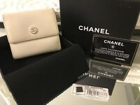 Authentic Chanel CC Logo White Caviar Leather Tri-Fold Compact Vintage Wallet