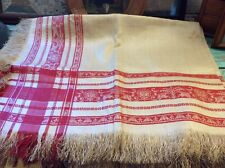 """Antique Turkey Red Damask Fringed Tablecloth, Never Used, Lady's Face, 80"""" x 52"""""""