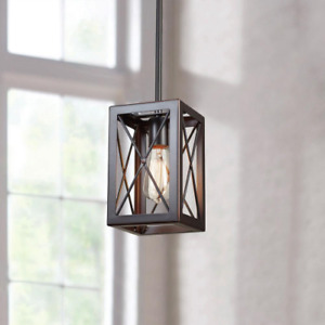 Home Decorators 1-Light Royal Bronze Mini-Pendant with Cage Design Shade
