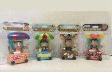 Lot of (4) Solar Dancing Bobblehead Toys - TACO HOTDOG COFFEE & FRUIT FOOD CARTS