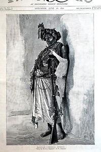British Central Africa H.H. JOHNSON ESCORT in TANGANYIKA Matted 1890 Engraving