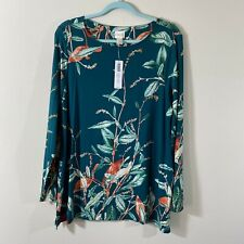 CHICOS Women's Size 2 Fairie Vines Scoop Neck Knit Top Long Sleeves