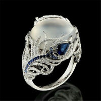 Man Engagement Ring Gift Sz 6-10 925 Silver Women Jewelry Huge Moonstone Wedding