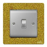 Single Light Switch / Socket Surround Acrylic Finger Plate Gold Sequin