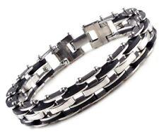 Pulsera de cadena para Hombre moda esclava acero inoxidable goma Regalo plata