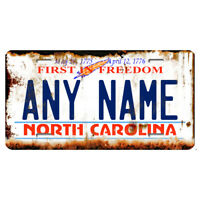 US Metal License Plate - North Carolina V2 Rusted, Personalise your own plate