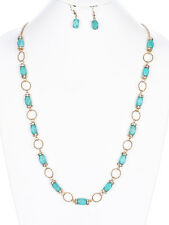 Faceted Turquoise Stone Clear Crystal Gold tone Hoop Long Necklace Earring Set