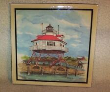 "DRUM POINT LIGHTHOUSE MARYLAND DONNA ELIAS CERAMIC WALL HANGING TILE 8""X8"" NIB"