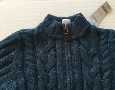 NWT Gymboree Night Forest 5 5T Blue-Green Wool Blend Cable Zip Cardigan