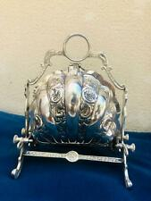 More details for  victorian style  silver plated shell folding biscuit box (used)