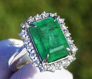 Emerald Ring Gold Diamond Natural Zambian 6.76 CTW GIA Certified RETAIL $14400