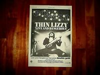 THIN LIZZY LIVE AND DANGEROUS 1978 FULL PAGE PRESS ADVERT POSTER SIZE  37/26CM