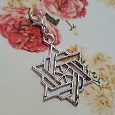 Lg Jewish Star of David Israeli Antique Silver Dangle Clip Charm pendant Modern