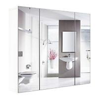 Bathroom Wall Mirror Cabinet 3 Mirror Door Kit Mirrored Medicine Toilet Storage