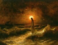 """Catholic print picture- CHRIST WALKING ON WATER -   8"""" x 10"""" ready to be framed"""