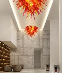 New Red and Amber Lighting Lamp Home Hand Blown Glass Chandelier Free Shipping