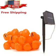 Halloween Solar Powered LED Jack O Lantern String Light 40 LED Pumpkin Light US