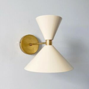 Hour-Glass Shaped Wall Sconce Modern Mid Century Light Brass Fixture Vanity Lamp