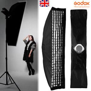 UK Godox 22x90cm Rectangle Softbox + Bowens Mount Adapter +Grid For Studio Flash