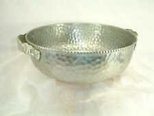 Vintage Hammered Aluminum Bowl with Handles, 9 wide X 3.5 tall inches