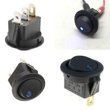 10 X INTERRUTTORE bilanciere nero con spia led BLU 250V 10A DA PANNELLO 10Pz.