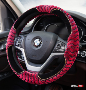 UKNEST COTTON RED STEERING WHEEL COVER GLOVE FOR UNIVERSAL CARS