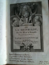 COMMENTAIRE SUR LA HENRIADE - DE LA BEAUMELLE - EO 1775 - ex-libris AUGUSTE JUBÉ