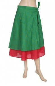Rajrang MultiColor Sarong Floral Printed Casual Western Wear summer skirt, Green