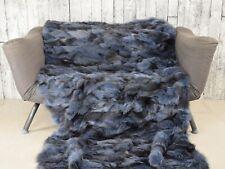 Luxury blue jean fox blanket throw, Real Fur Blanket