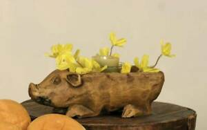Primitive new small carved PIG Bowl