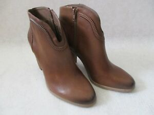 $179  VINCE CAMUTO LEATHER BROWN ANKLE ZIP UP BOOTS SIZE 9 M - NEW