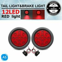 2X Red Round Tail Superflux 12LED Stop Brake Signal Lights for 12V Truck Trailer