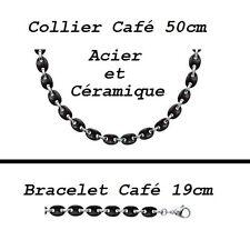 Gros Bracelet Acier avec des Grains de Café 10mm en Céramique Noire Dolly-Bijoux