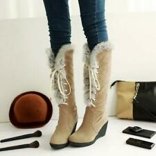 Women Fur Trim Knee High Boots Wedge High Heels Lace Up Platform Snow Shoes