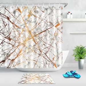 Marble Texture Golden Splatter Lines Shower Curtain Bathroom Polyester Fabric