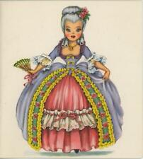 VINTAGE DOLL GIRL AMERICA COSTUME FAN PRINT 1 DRESS UP MAKE UP VANITY ART CARD