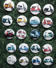 VESPA BUTTON BADGES 20 COLLECTION MOD SKA SCOOTER LAMBRETTA POSTER NORTHERN SOUL
