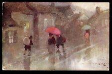 Tuck artist signed Van Hier umbrellas on A Wet Day UK postcard
