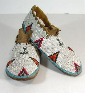 1890s PAIR NATIVE AMERICAN CHEYENNE INDIAN BEAD DECORATED HIDE MOCCASINS BEADED