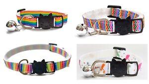 Cat Collars with Bell - Rainbow Print   Safe Quick Release / Breakaway Buckle