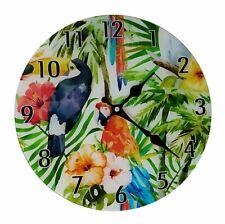 GLASS TROPICAL BIRD TOUCAN PARROT FLORAL WALL CLOCK 30CM ROUND