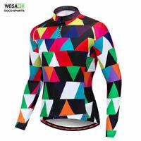 WOSAWE Cycling Long Sleeve Jerseys Mens Full Zipper Bike Tops Bicycle Riding