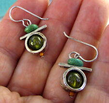 Estate Vintage Sterling Silver Peridot Turquoise Dangle Drop Pierced Earrings
