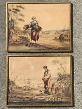 Beautiful Pair Of Antique French Watercolors