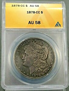 1878-CC $1 Morgan Silver Dollar ANACS AU58 ~ CARSON CITY COIN ~