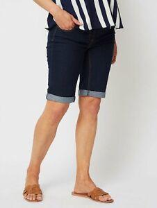 LADIES WOMANS Maternity Over Bump  Denim Knee Length Shorts Trouser Size 8, 10