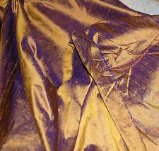 100% Natural Silk Dupioni Fabric Purple Bronze Luxurious Textured Iridescent BTY