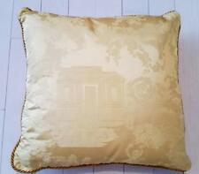 "VERSACE HOME Gold House Floral SQUARE Throw PILLOW Gold Piping ITALY 19"" x 19"""